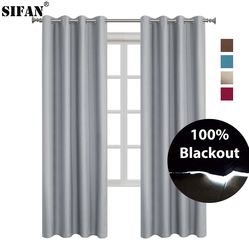 100% Shading Rate Modern Style Solid Color Blackout Curtain For Bedroom Living Room Window Fabric Curtains Custom Made