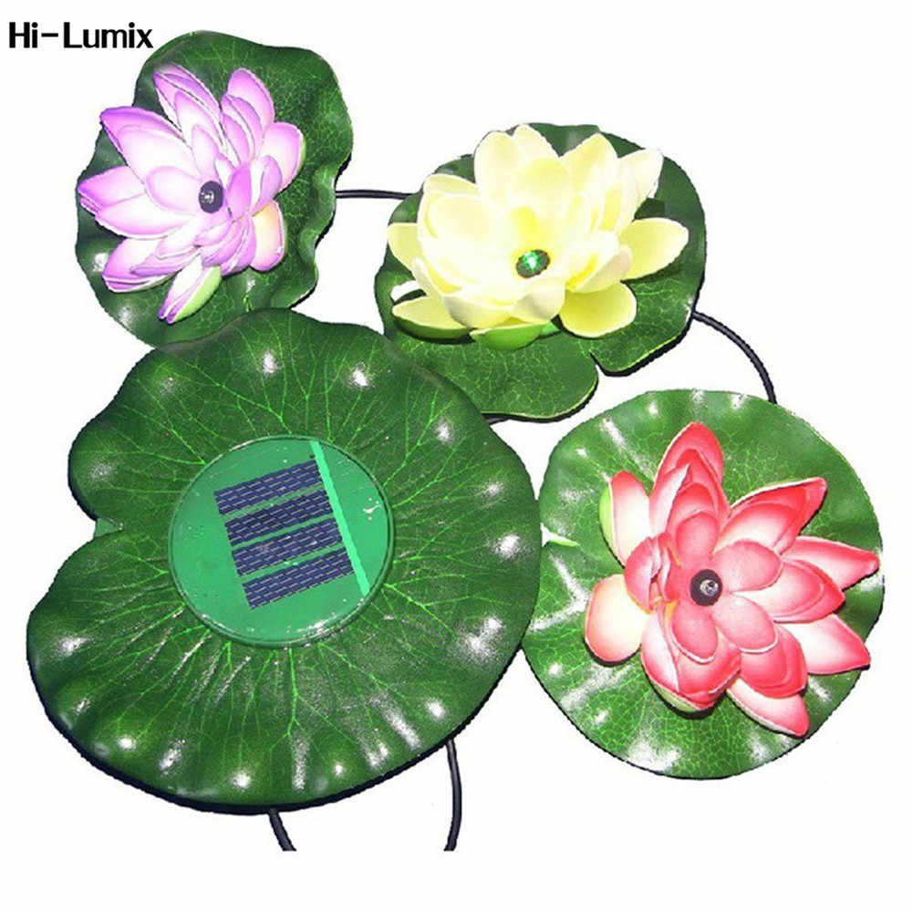 Hi-Lumix 3 Leds Solar Powered Mengambang Lotus Cahaya Luar LED Lampu Tambak Garden Pool Lampu Malam Colorful cahaya Bunga