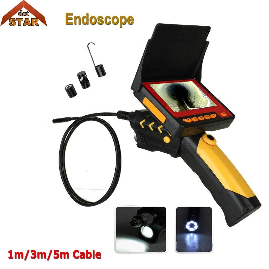 Stardot эндоскопа ручной 1 м 2 м 3 м 5 м Flex эндоскопа Камера 4,3 ЖК дисплей монитор светодиодный фонарик водонепроницаемый змея трубки Borescope