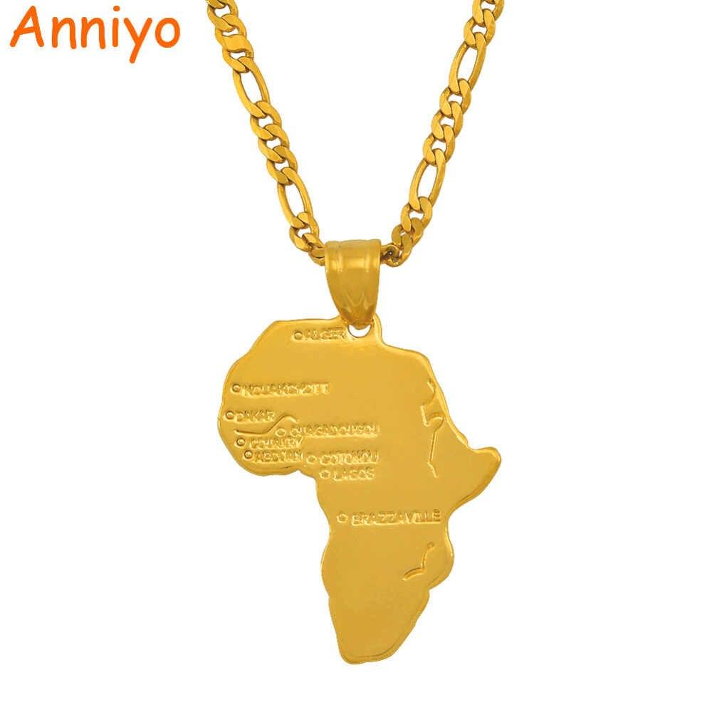 Anniyo 8 Style/mapa afryki naszyjnik łańcuch mapa afryki zestaw biżuteria złoty kolor biżuteria dla kobiet mężczyzn dziewczyna #132106-8