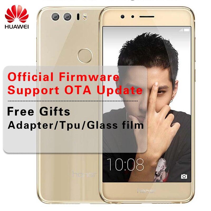 Huawei Honor 8 OTA обновление LTE 4G мобильный телефон 4G B Оперативная память 6 4G B Rom двойная камера Octa Core 5,2 дюймов 1920 * 1080P сканер отпечатков пальцев NFC P