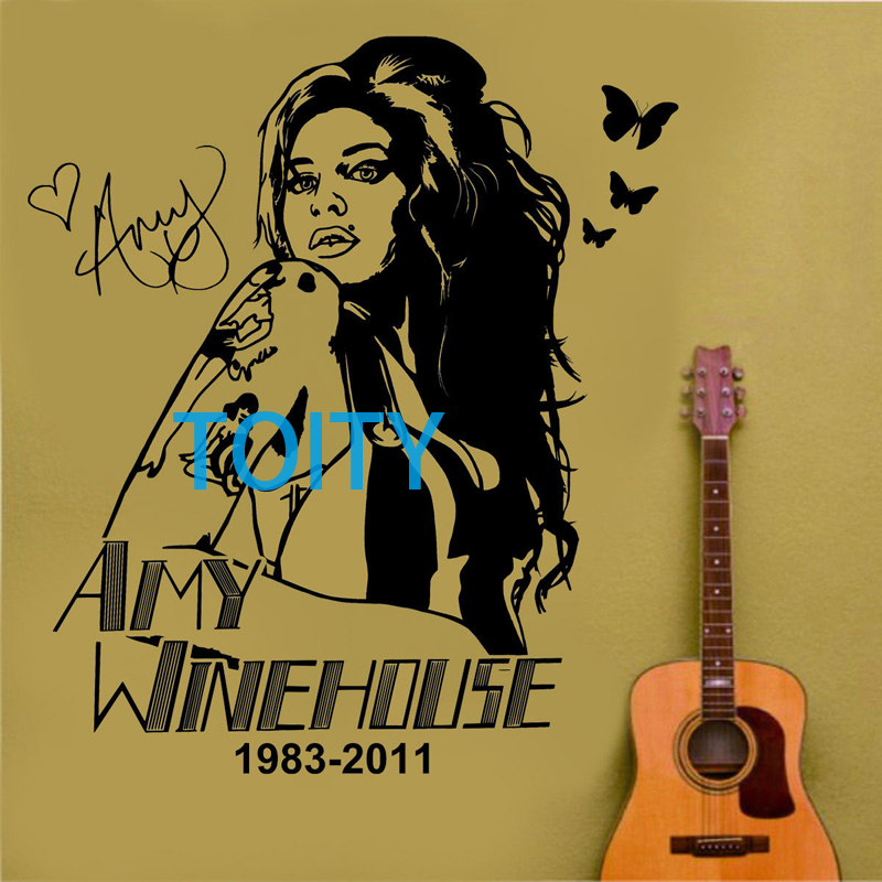 Amy Winehouse Wall Decal English Singer Vinyl Decal R&B Music Decor Art Mural H66cm x W58cm