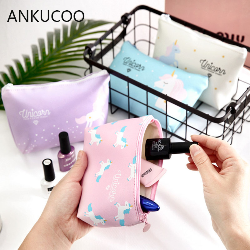 Travel Cosmetic Bag Cartoon Unicorn Makeup Case Women Zip Hand Holding Make Up Handbag Organizer Storage Pouch Toiletry Wash Bag new women fashion pu leather cosmetic bag high quality makeup box ladies toiletry bag lovely handbag pouch suitcase storage bag