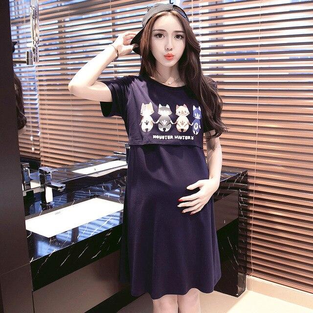 Летняя одежда для беременных кормящих юбка летняя Грудное вскармливание  Платья Синий кормящих одежда для беременных Для 167bf514db3