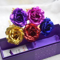 Foil Plated Rose Artificial Flower Creative Valentine S Day Birthday Wedding Gift Present For Lovers Gold