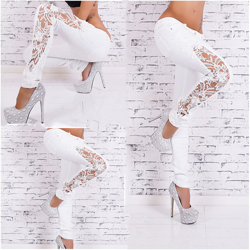 7900d2530 2016 Spring Autumn Fashion White Lace Classical Slim Skinny Jeans ...