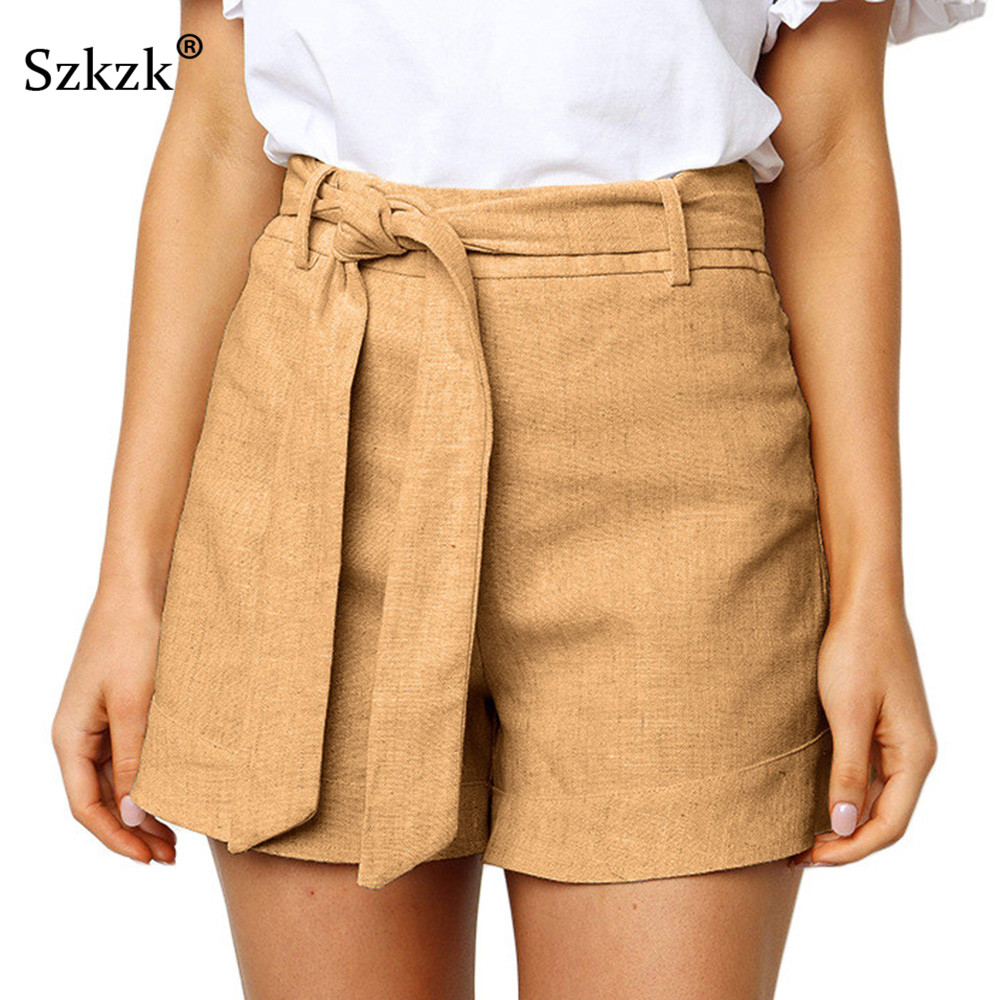 Szkzk Short Women 2019 Summer Casual High Waist Loose Drawstring Female Bottoms Yellow Blue Orange Fitness Lady Short Pant