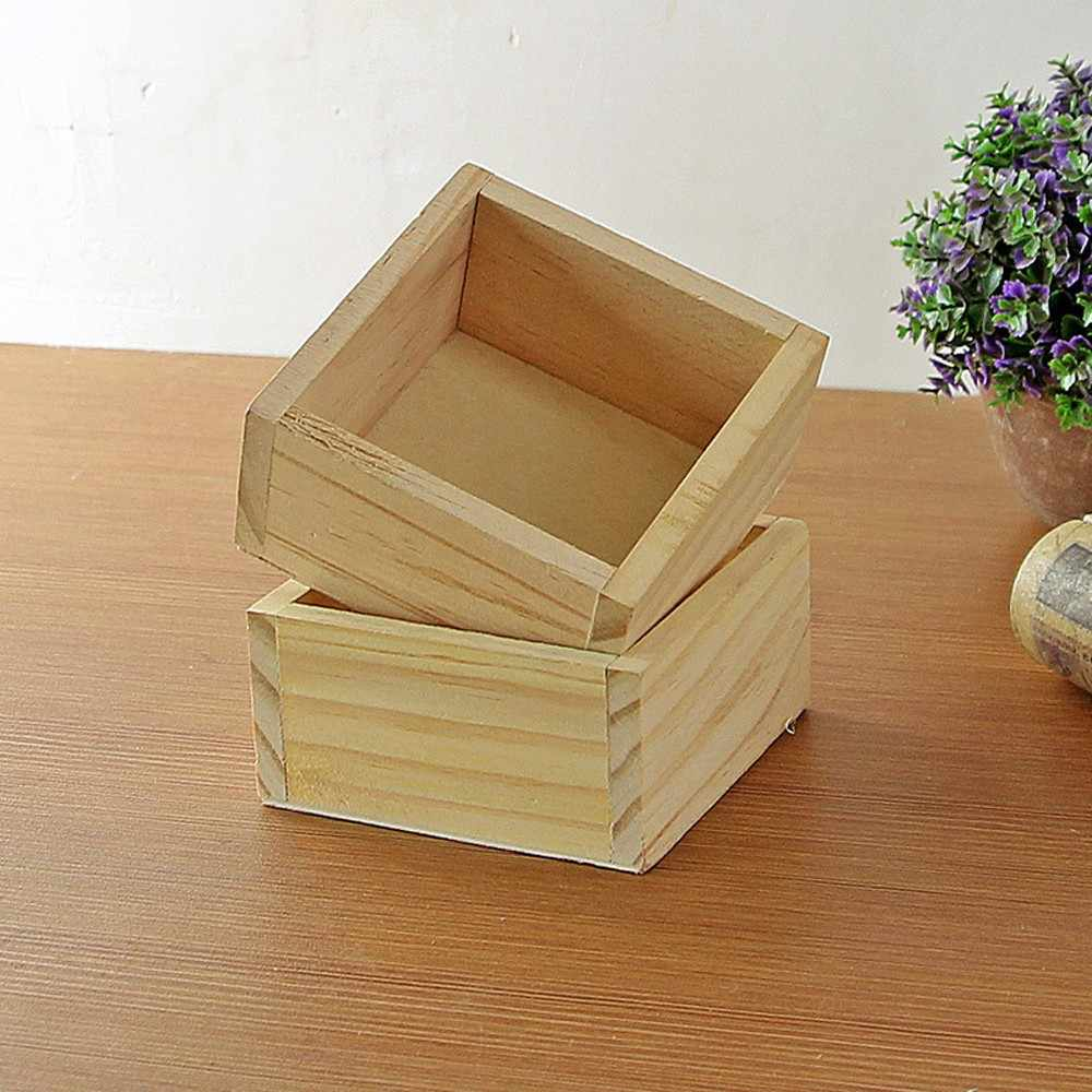 2018 Retro Style Wooden Succulent Plants Square Flower Pot Garden Handmade Planting storage box maceteros flower pot 1.26