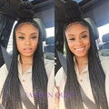 Synthetic micro braided lace front wigs for black women long black synthetic micro braid wigs glueless lace front braided wigs