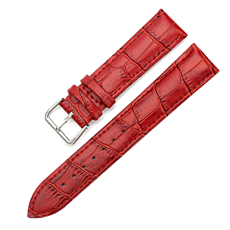 Watch Bands Leather Watch Strap Stainless Steel Buckle Clasp Watch Belt 14, 16,18,20,22,24mm Watch Accessories Wristband Black