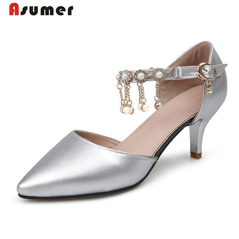 ФОТО Asumer Med heels women pumps big size 33-43 wedding party shoes shallow pointed toe summer shoes buckle fashion elegant