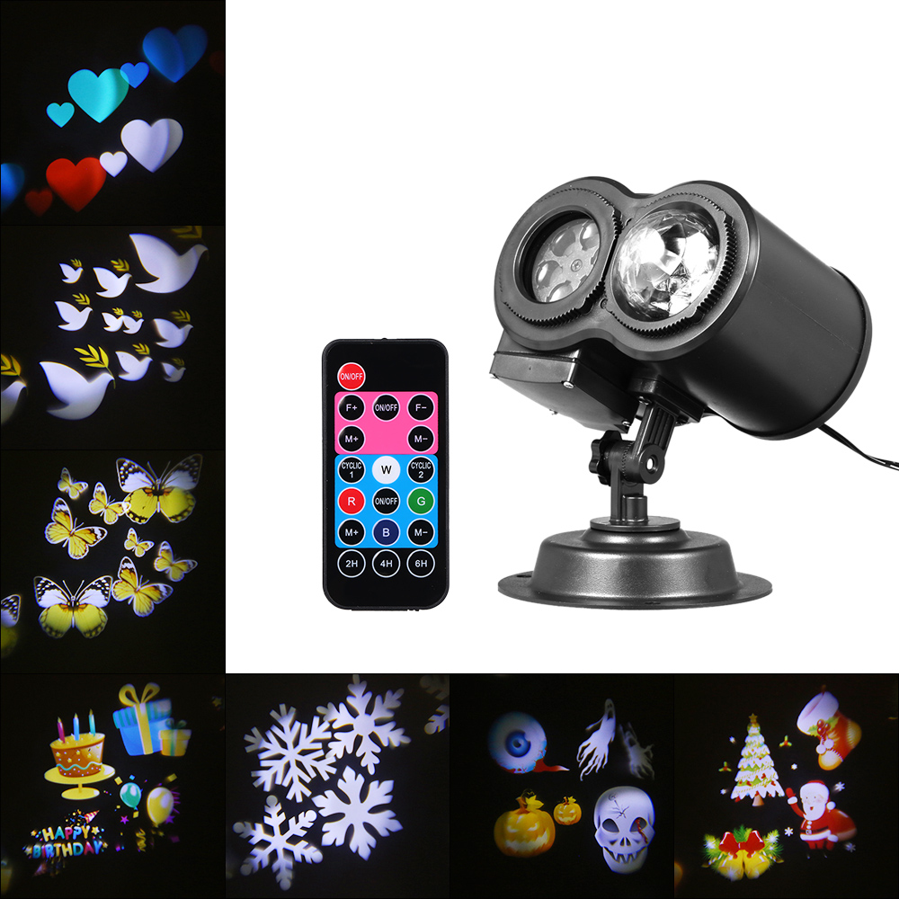 Waterproof 12pcs Colorful Gobo Slides Projector Lamps LED Stage Light Christmas Decoration Landscape Projection Garden Lamp
