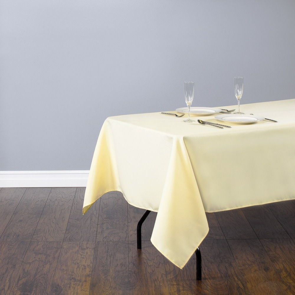 HK DHL Stain Feel 220*330cm Polyester Rectangle Tablecloth Butter for Wedding, 5/Pack