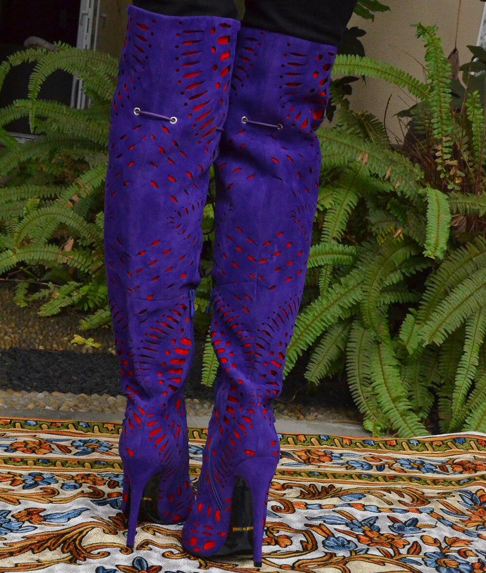 Rodilla Mujer Ovejas Height 10cm Nancyjayjii Floral heel Botas Marca Heel Púrpura Highland Lujo Primavera Sobre La Suede Invierno Flor 12cm Height Gato xwFO7qtR