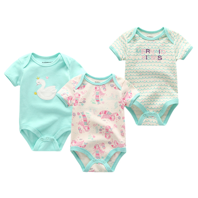 Newborn's Short Sleeved Cotton Rompers