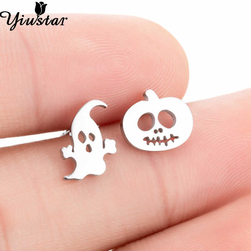 Yiustar Halloween Earrings Cute Tiny Ghost Earrings in Stud Earrings for Women Jewelry Mine Kids Earrings Stainless Steel Studs