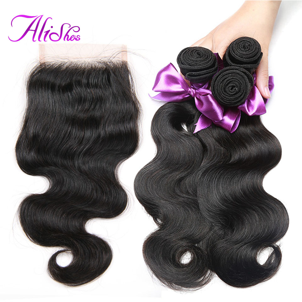 Alishes Malaysian Body Wave 3 Bundles With Closure 4PCS/LOT Remy Hair Human Hair Bundles With 4x4 Middle/Free Part Lace Closure