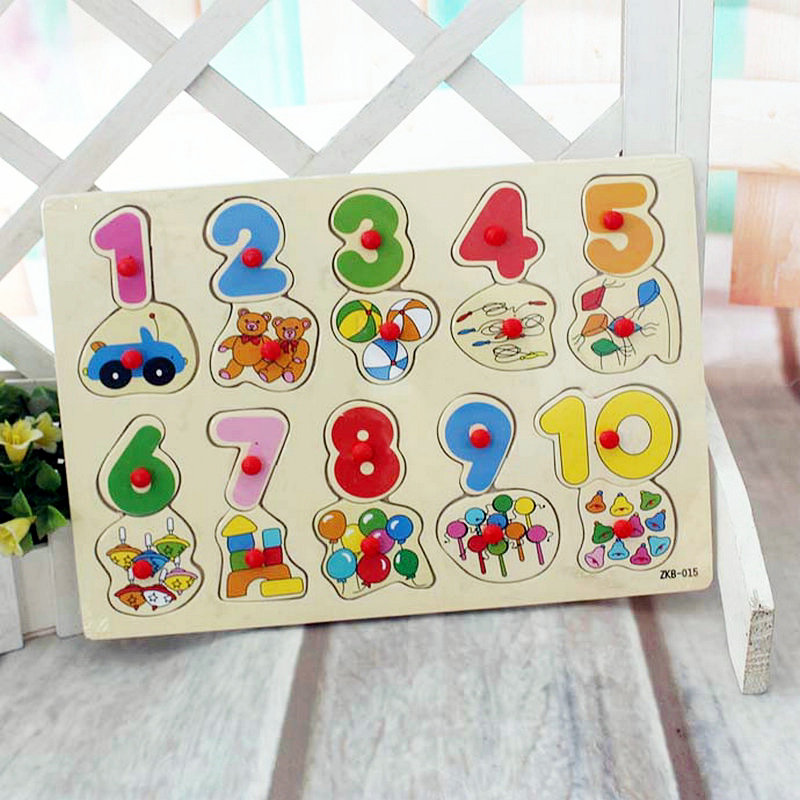 Free shipping Baby Digital makeup Toys Digital puzzle montessori teaching AIDS children s toys wooden toys