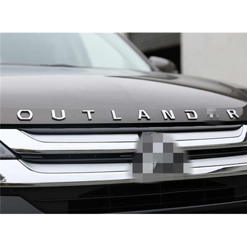 DIY 3D dla Outlander stałe litery kaptur godło Chrome Logo naklejana etykieta dla Mitsubishi samochód Outlander stylizacja ze stali nierdzewnej naklejki