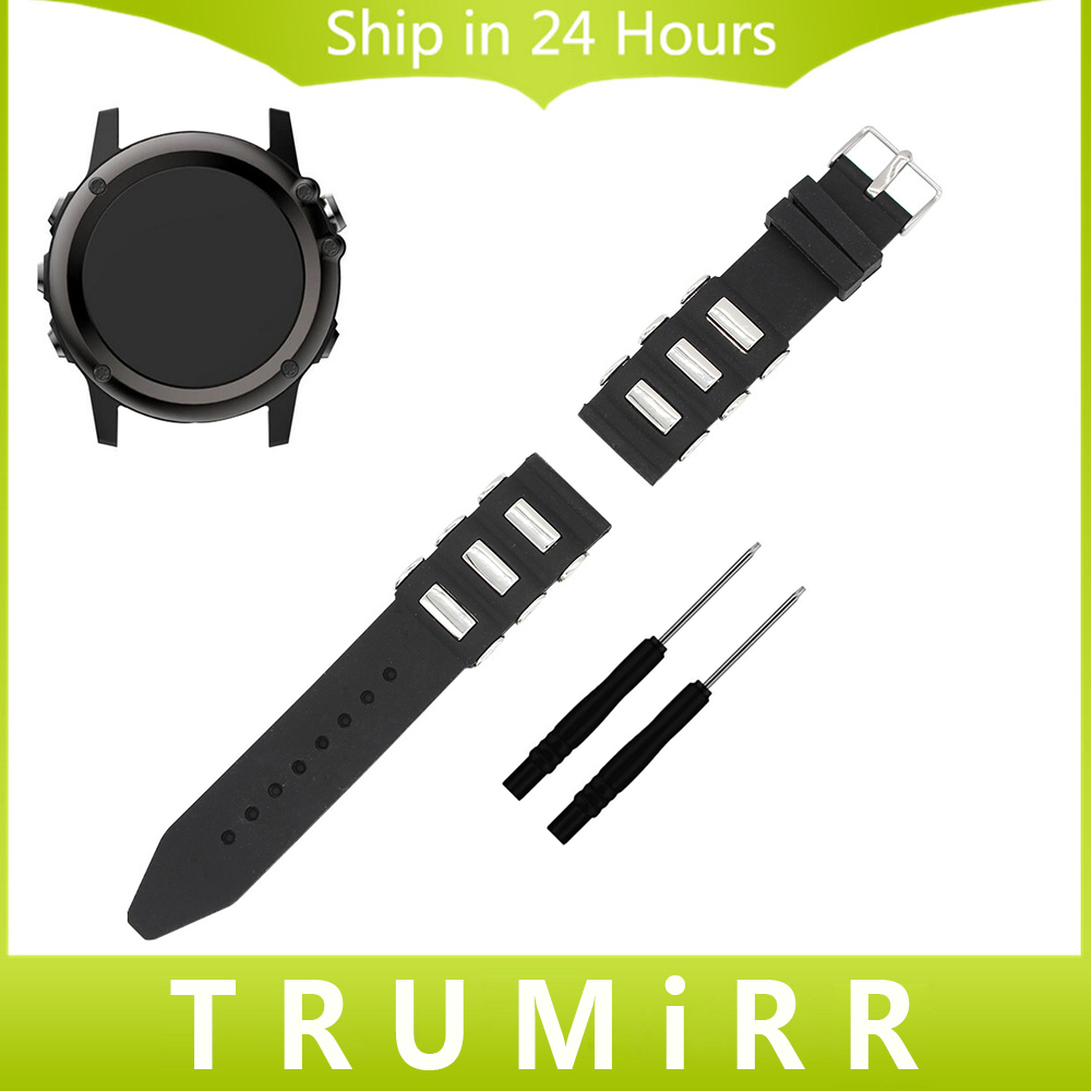 26mm Silicone Rubber Watchband + Tools for Garmin Fenix 3 / HR Smart Watch Band Wrist Strap Sports Casual Belt Bracelet Black new arrivals titanium steel bracelet wrist strap smart watch band for garmin fenix 3 hr sturdy and durable free shipping aug29