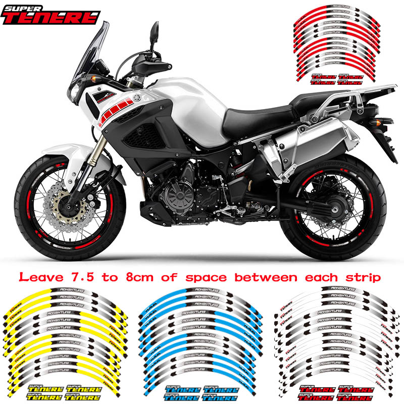 New High Quality 12 Pcs Fit Motorcycle Wheel Sticker Stripe Reflective Rim For YAMAHA SUPER TENERE
