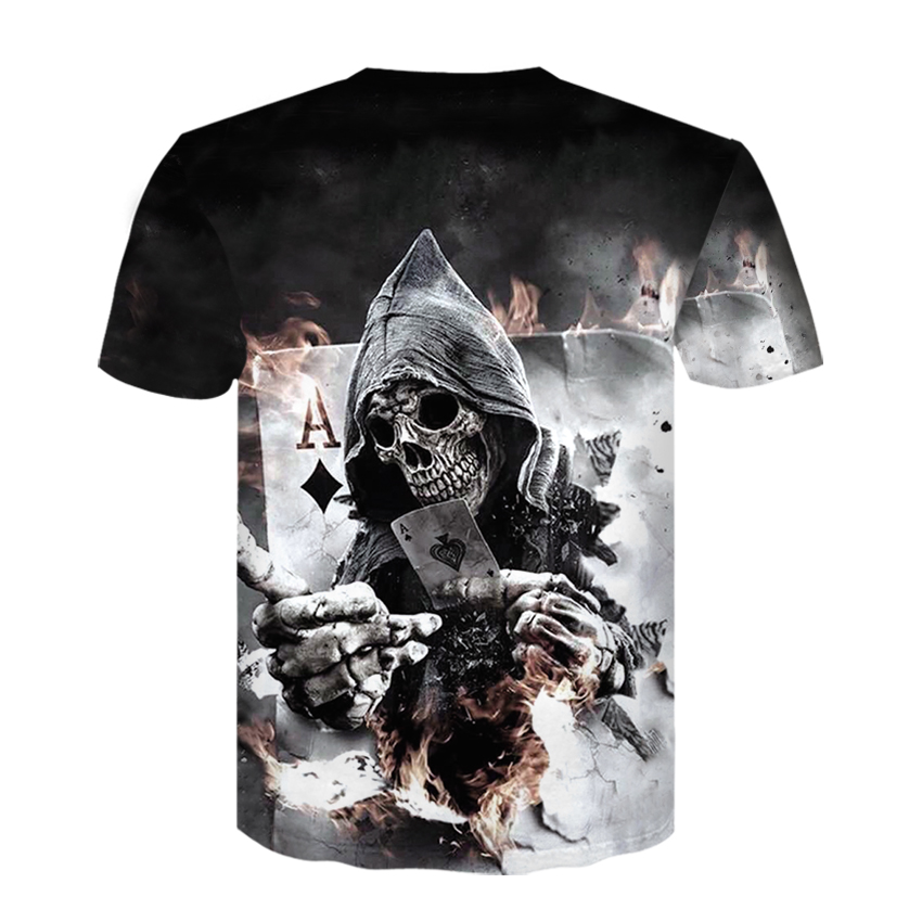 2018 New Mens Summer Skull Poker Print Men Short Sleeve T shirt 3D T Shirt Casual