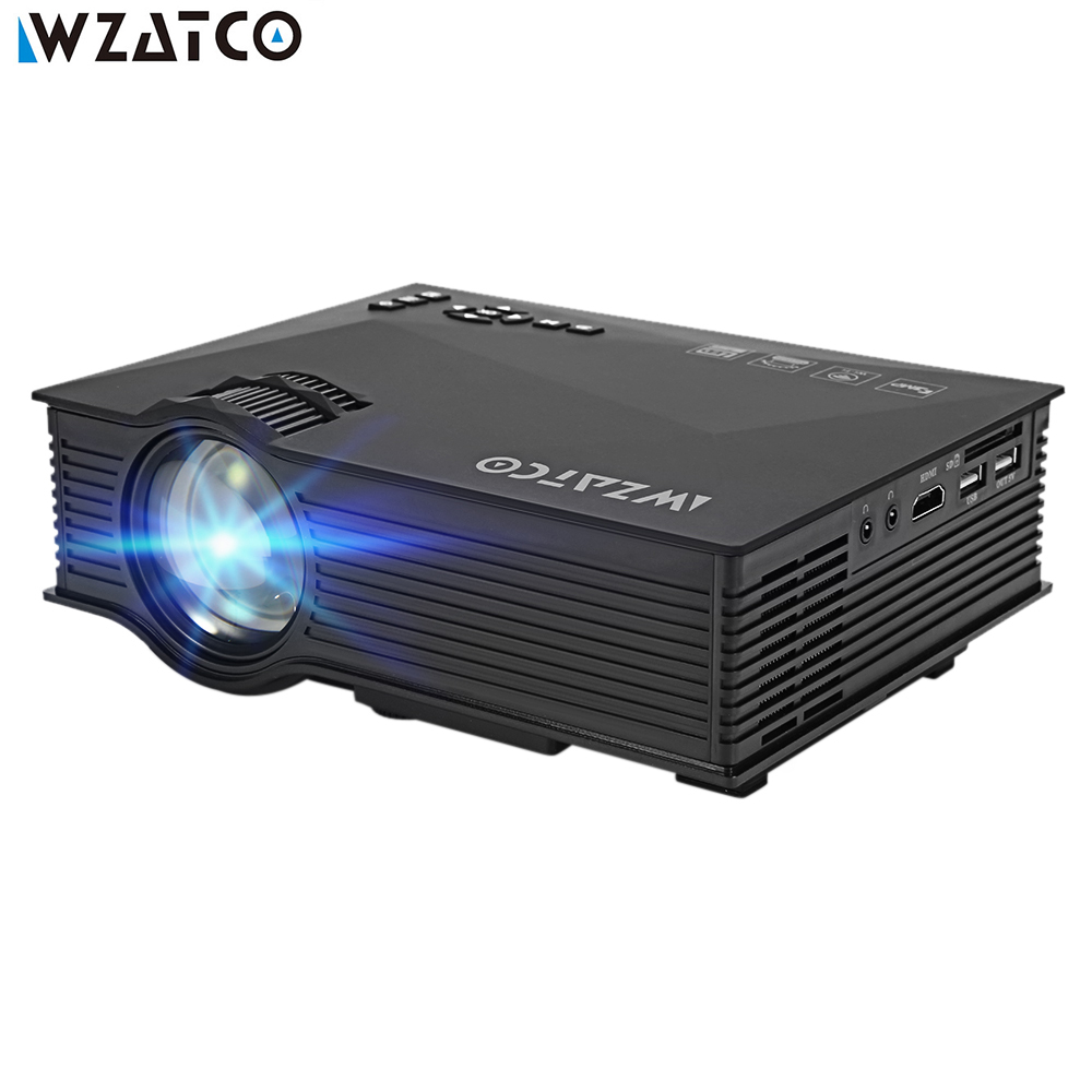 WZATCO UC46 Беспроводной к Windows, IOS Android OS телефона Tablet PC Wi-Fi-Дисплей 1080 P 3D видео ЖК-дисплей цифровой <font><b>HDMI</b></font> светодиодный HD проектор