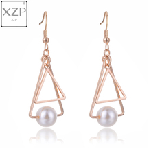 XZP Korean Pendant Drop Earring Hollow Out Triangle Round Simulated Pearl Beads Charms Earrings For Woman Girls Ear Jewelry цены