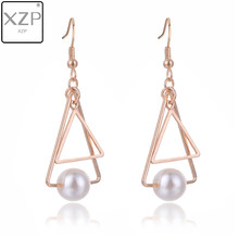 XZP Korean Pendant Drop Earring Hollow Out Triangle Round Simulated Pearl Beads Charms Earrings For Woman Girls Ear Jewelry(China)