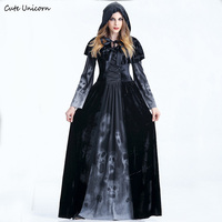 Women Sexy Cosplay Costume Medieval Renaissance Adult Witch Gothic Queen Of Vampire Black Fancy Dress Halloween