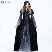 Mulheres Cosplay Halloween Traje medieval Renascimento adulto bruxa rainha Gótico do vampiro preto Fancy Dress Meninas Outfit
