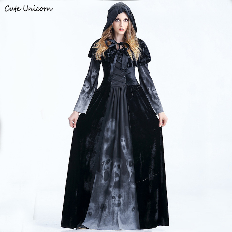 women halloween cosplay costume medieval renaissance adult witch gothic queen of vampire black. Black Bedroom Furniture Sets. Home Design Ideas