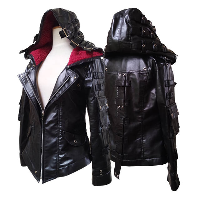 04cb851b19c9da PUBG Faux Leather Coat Top Jacket Pubg Sweatshirts Hoodies Female  Playerunknown Battle Fields Zipper Cosplay Costumes