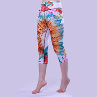 Floral Print Pattern Cycling Tights for Women Outdoor Sports Cropped Leggings Elastic Slim High Waist Running Pants Yoga Tights