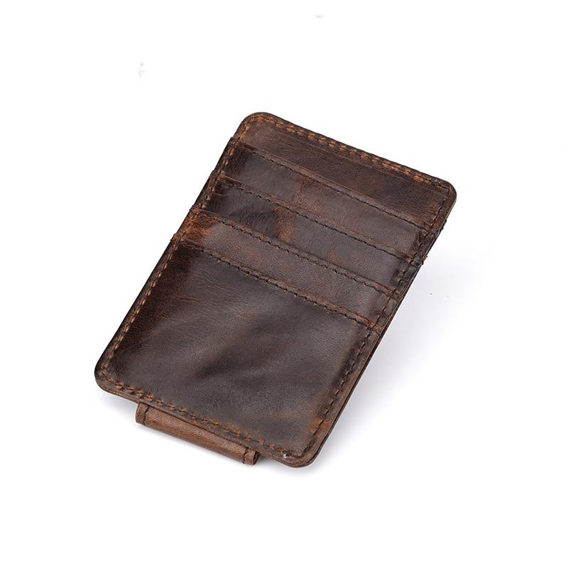 Westcreek Brand Genuine Leather Men Vintage Money Clip Front Pocket Clamp for Money Magnet Magic Thin Travel Wallets Card Case