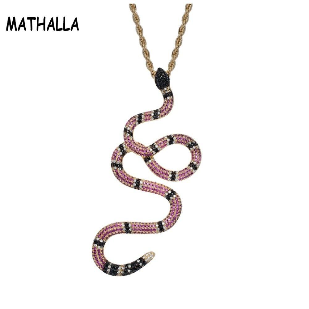 Déclaration Rap Animal serpent pendentif Micro pavé arc-en-ciel CZ pierre or hommes glacé Zircon collier Hip Hop bijoux