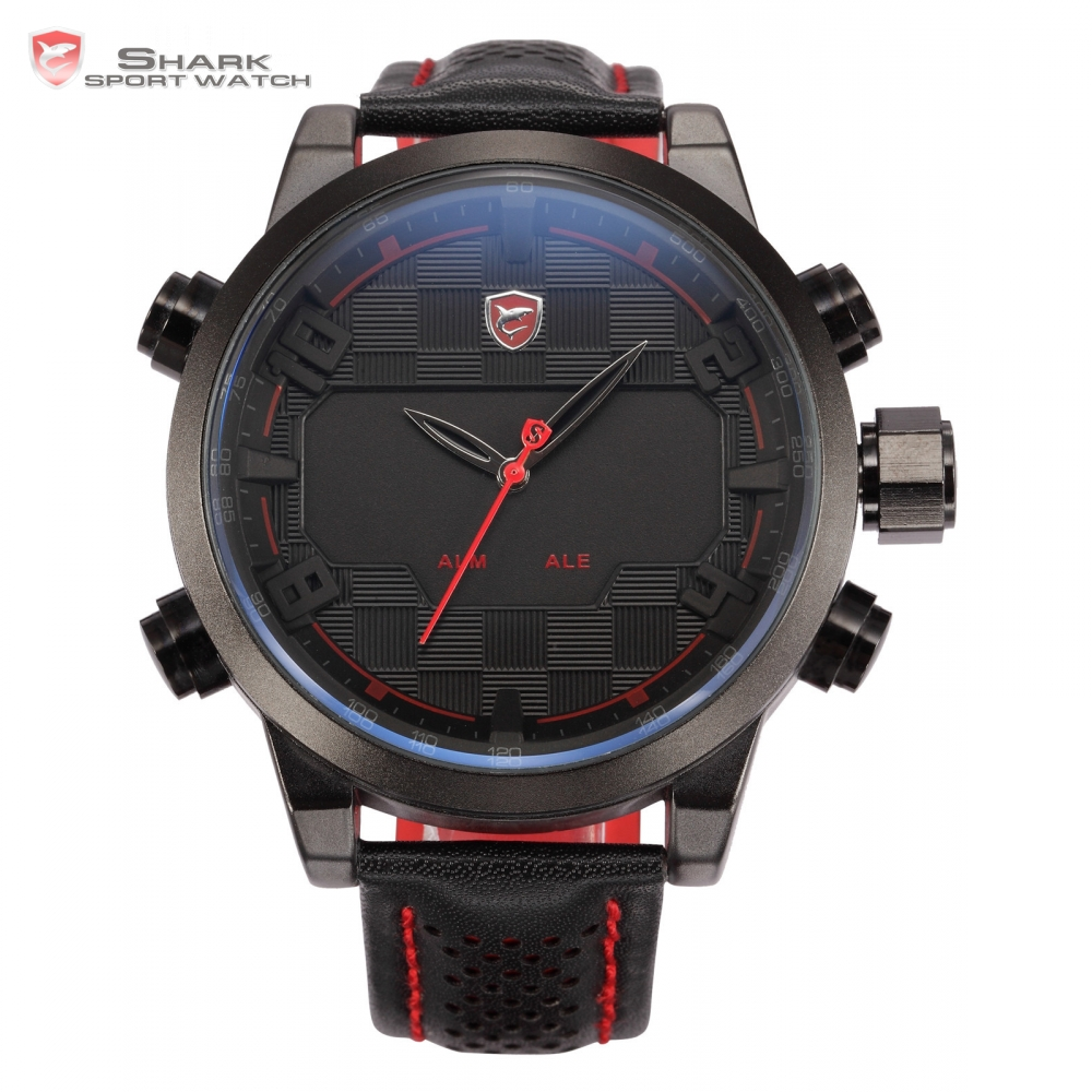 Brand SHARK Sport Watch LED Stainless Steel Case Dual Time Date Alarm Leather Strap Relogio Quartz Men Digital Watches / SH203 sawback angel shark sport watch mens black yellow digital dual movement 3d logo steel case led watches leather wristwatch sh204