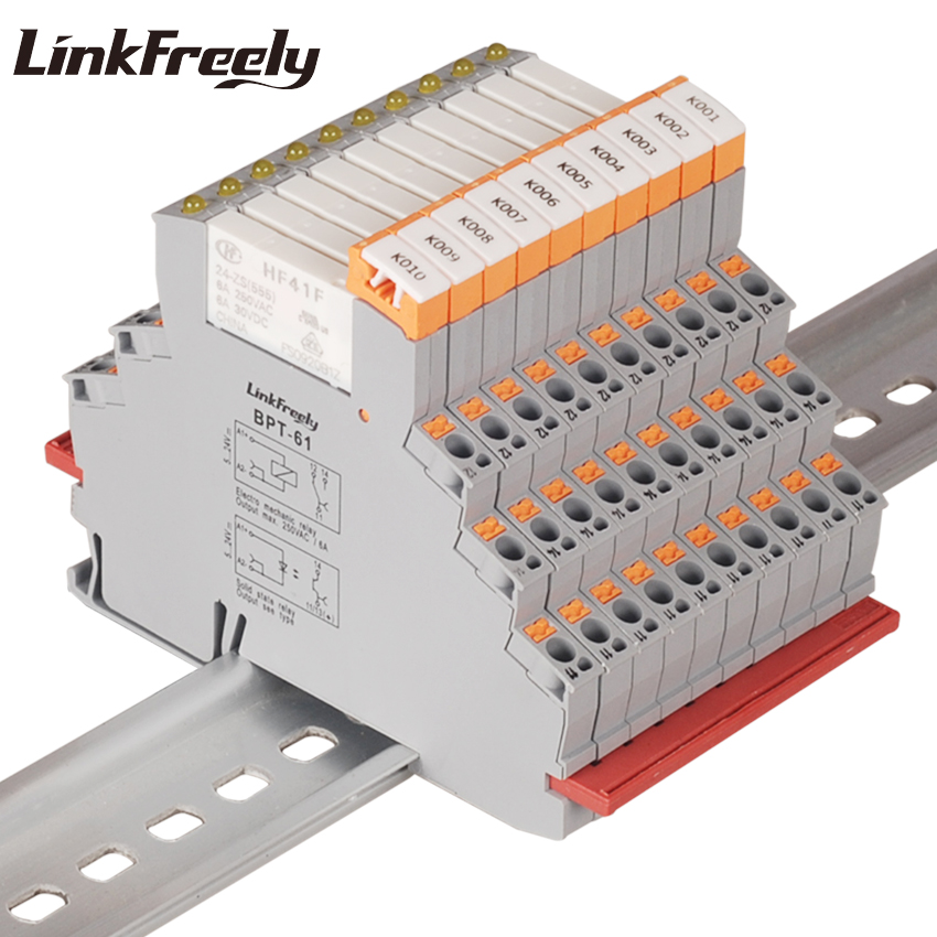 BPT 61 HF41F 24 ZS 10pcs Auto Plug in Spring Din Rail Relay 24V In 6A
