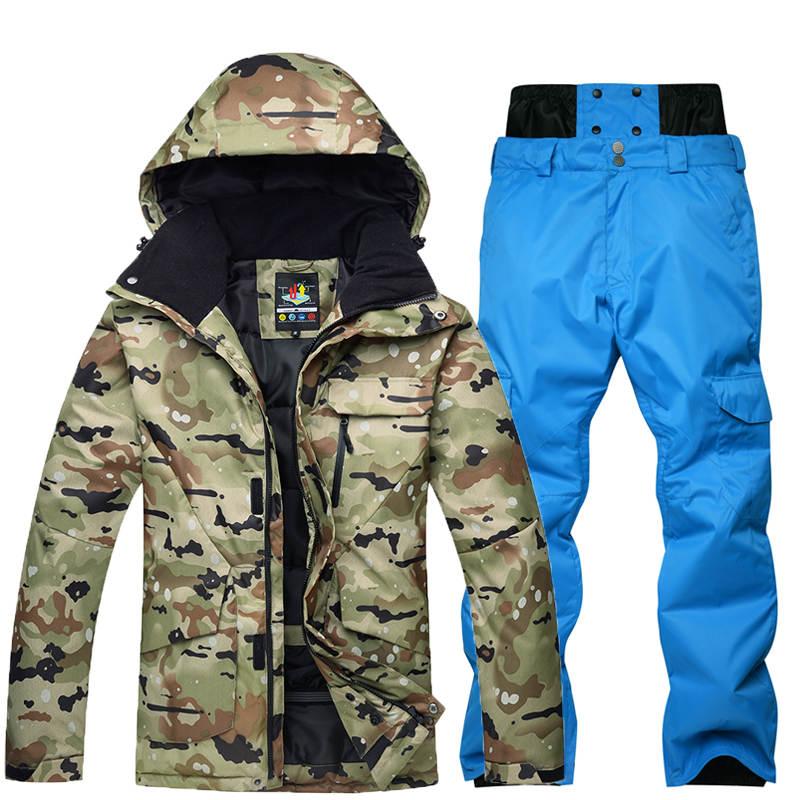 10 К Камуфляж для Для мужчин лыжный костюм комплект Сноуборд костюм Гар Для мужчин t Водонепроницаемый дышащий зимний костюм куртка + мотобрю...