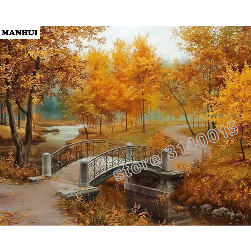 Full Square Diamond DIY Diamond Painting Forest bridge embroidery Cross Stitch Rhinestone Mosaic Painting Decor Gift BCD388