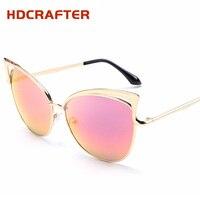 2017 HDCRAFTER Cat Eye Sunglasses Women Alloy Frame Cateye Polarized Sun Glasses Female Colorful Mirror Eyewear