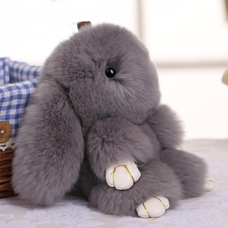 Cute Plush Bunny Keychain Women Fur Pom Pom Angel Rabbit Key Ring Hare Pompom Plush Dolls Toy Girls Bag Car Key Pendant