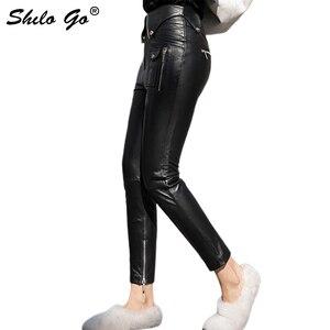 Calças De Couro Das Mulheres de Moto Streetwear Botão Turn Down Cintura Alta Lápis Calças de Couro de pele de Carneiro Genuína Ocasional Capris Feminino