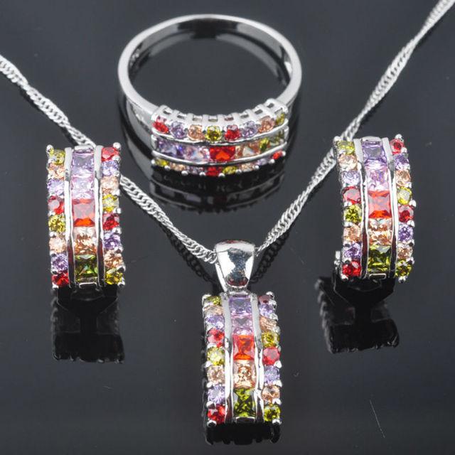 Fascinante de Pedra Multicolor da Mulher Zirconia 925 Prata conjunto de Jóias Brincos/Pingente/Colar/Anéis Frete Grátis QZ055