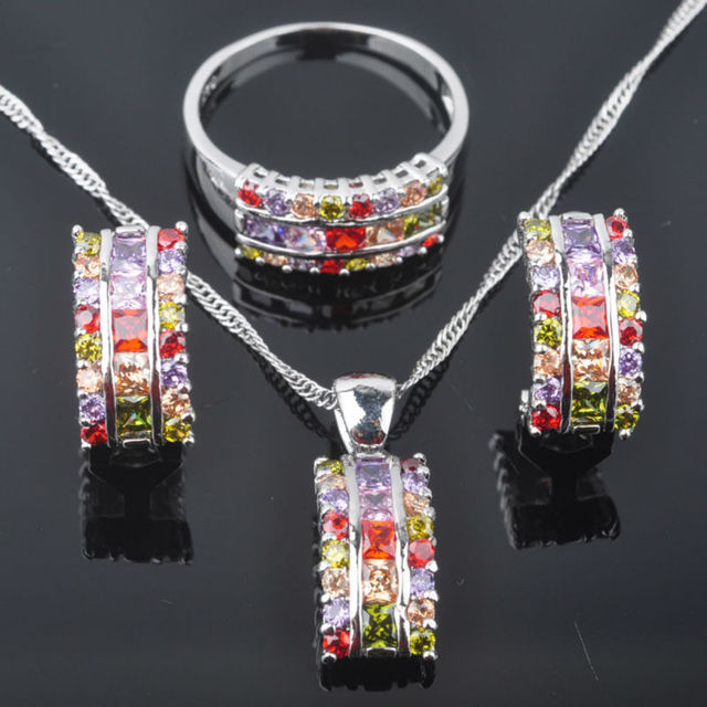 Fascinating Multicolor Stone Zirconia Woman's 925 Silver Jewelry Sets Earrings/Pendant/Necklace/Rings Free Shipping QZ055