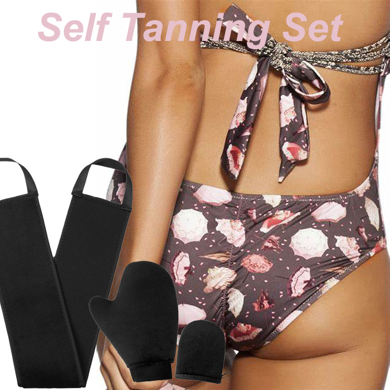 Self Tanning Mitts Lotion Back Applicator Band Perfect For Tanning Lotions, Body Creams & Mousses-holds ABSORBS LESS LOTION