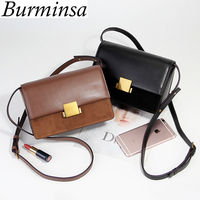 Burminsa Suede Split Leather Crossbody Bags For Women Small Box Ladies Shoulder Messenger Bags Winter New 2018 Black Brown Green
