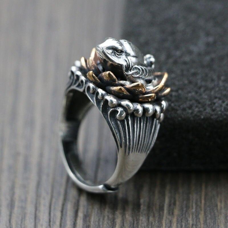 Takı ve Aksesuarları'ten Nişan Yüzükleri'de Gümüş 925 vintage lotus kurbağa erkek karakter orijinal halka açılış ayar endeksi Tay gümüş el sanatları yüzük'da  Grup 1