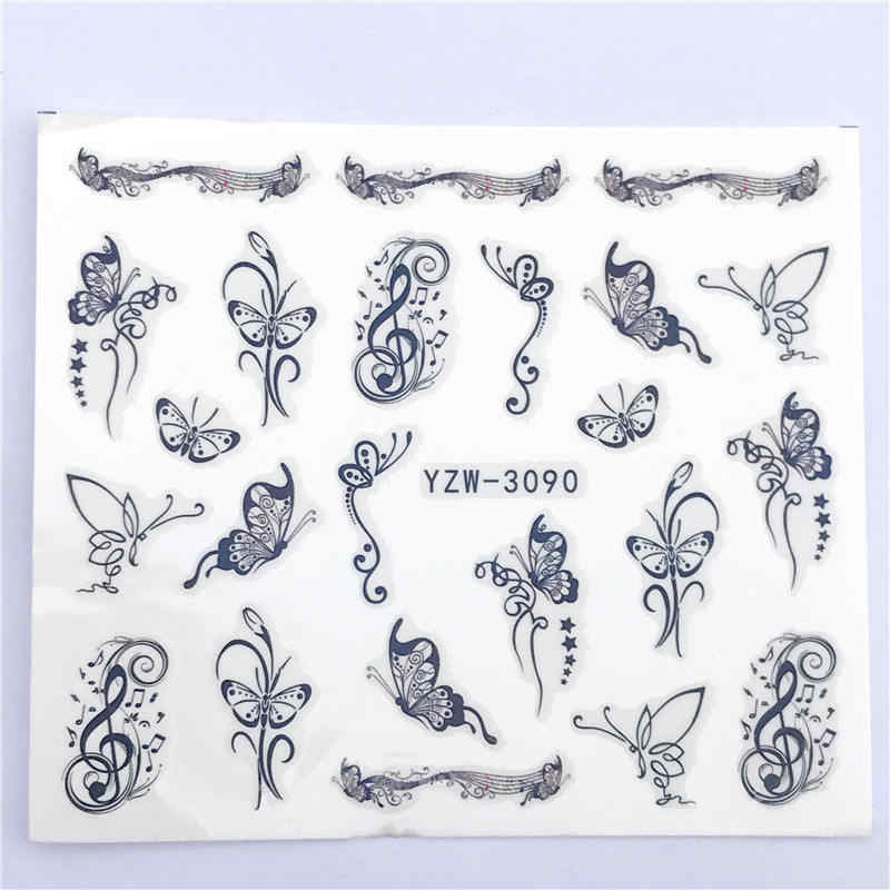 ZKO 1 PC Hot Nail Sticker Black Butterfly Note Beauty Water Transfer Stamping Nail Art Tips Nail Decor Manicure Deca