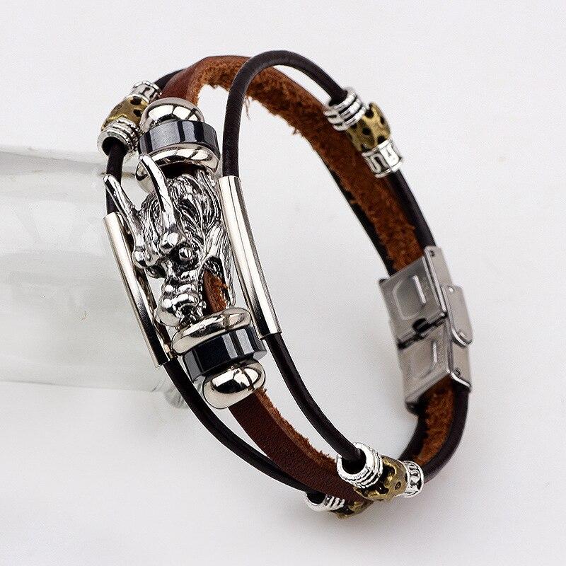 2016 Fashion Male Cool Genuine Leather Bracelet Men Belt Buckle Cuff Bracelets Cheap Chinese Dragon Head Jewelry